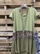 Green Leopard V Neck Cotton Short Sleeve Shirts & Tops