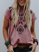 Geometric Short Sleeve Printed Shirts & Tops