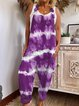 Purple Printed Sleevelss Square Neck Lace-up Jumpsuits