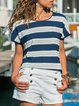 Vintage Short Sleeve Striped Crew Neck Plus Size Casual Tops