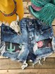 Casual western torn printed denim shorts