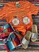 Orange Cotton Floral V Neck Short Sleeve Shirts & Tops