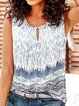 Women Sleeveless Printed Cotton-Blend Shirts & Tops