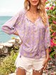Purple Floral V Neck Floral-Print Casual Shirts & Tops