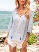 Blue Floral V Neck Paneled Long Sleeve Shirts & Tops