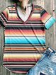 Multicolor Floral-Print Shift Casual Stripes Shirts & Tops