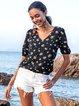 Black Casual Floral Shift Half Sleeve Shirts & Tops
