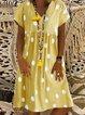 V Neck Polka Dots Printed Short Sleeve Dresses