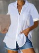 Casual Shirt Collar Short Sleeve Shirts & Tops