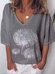 Vintage Short Sleeve Statement Dandelion Printed V Neck Plus Size Casual Tops