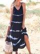 Printed Sleeveless Holiday V-neck Maxi Dress