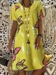 Short Sleeve Printed Floral Dresses