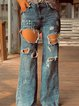 Blue Cotton Casual Pants