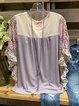 Gray Frill Sleeve Crew Neck Cotton-Blend Shirt & Top