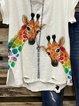 White V Neck Casual Cotton-Blend Shirt & Top