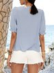 Blue Half Sleeve Solid Cotton-Blend Shirts & Tops