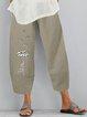 Vintage Daisy Printed Plus Size Women Casual Pants