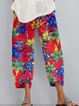 Cotton-blend Casual Printed Pants