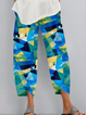 Printed Cotton-blend Casual Pants