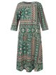 Vintage Geometric Floral Printed Plus Size Long Sleeve Crew Neck Casual Dresses