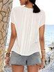 Off White Paneled Short Sleeve Plain Crew Neck Shirts & Tops
