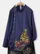 Dark Blue Cotton-Blend Casual Shirts & Tops