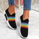 Color Block Fly-Woven Fabric Sneakers