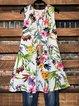 Floral-Print A-Line Sleeveless Plant Dress