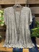 Gray Crew Neck Cotton Leopard Short Sleeve Shirts & Tops