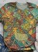 Plus Size Vintage Crew Neck Cotton-Blend Animal Shirts & Tops