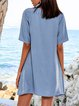 Blue Short Sleeve A-Line Crew Neck Casual Dresses