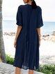 Purplish Blue Animal Casual V Neck Dresses