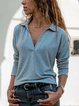 Gray Cotton Shift Casual V Neck Shirts & Tops
