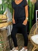 Black Lace Paneled Short Sleeve Casual Pockets Jumpsuits