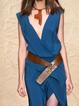 Sleeveless Solid V Neck Dresses