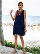 Purplish Blue V Neck Shift Sleeveless Boho Dresses
