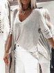 Light Gray V Neck Long Sleeve Shirts & Tops