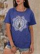 Blue Short Sleeve Floral Printed  Top