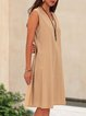 Khaki Solid Simple Basic Mini Dress