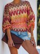 Red Color-Block Casual Patchwork Knitted Shirts & Tops