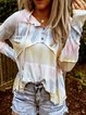 Multicolor Color-Block Cotton Patchwork Long Sleeve Shirts & Tops