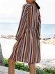 Brick Red Long Sleeve V Neck Shift Striped Dresses