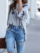 Light Gray Stripes Casual Cotton-Blend Round Neck Shirts & Tops