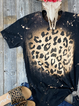 Black Crew Neck Leopard Casual Cotton-Blend Shirts & Tops
