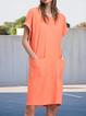 Orange Shift Casual Crew Neck Dresses