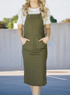 Army Green Casual Plain Dresses