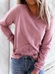 Rose Red Round Neck Casual Cotton-Blend Sweatshirt