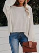 Apricot Round Neck Casual Knitted Shirts & Tops