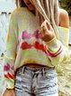 Yellow Long Sleeve Casual Knitted Round Neck Shirts & Tops