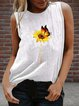 Vintage Sleeveless Butterfly Sunflower Printed Crew Neck Plus Size Casual Vest Tops